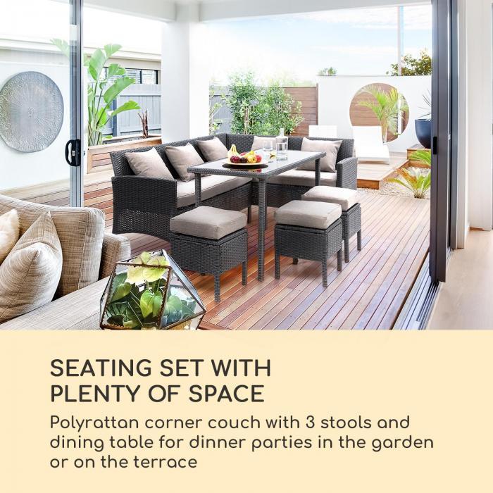 Titania Dining Lounge Set Garden Set Black / Brown