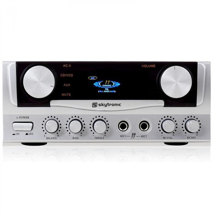SKY-103 HiFi-Karaoke-Verstärker 400W max. mit Display 2x Mikrofon-Anschluss silber