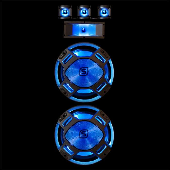 "1000W DJ PA Blue LED Dual 15"" Passive Speaker"
