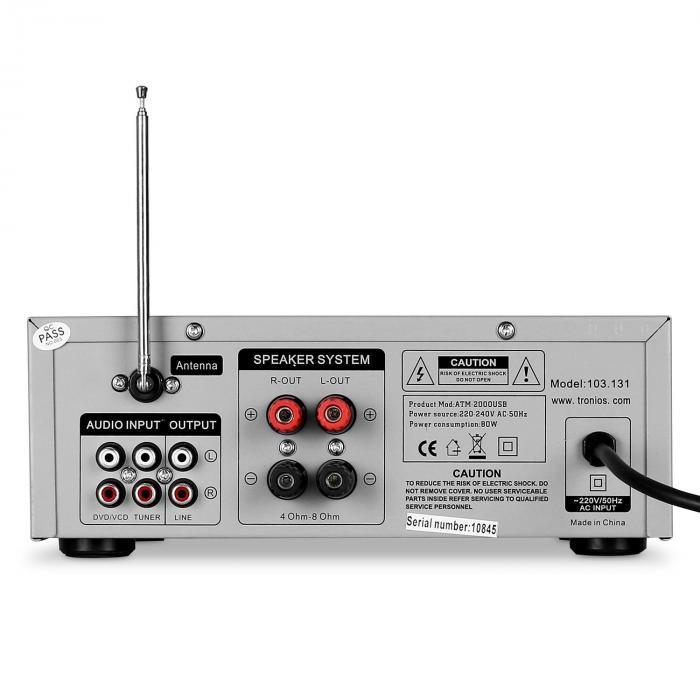 sky 103 hifi karaoke verst rker 400w max radio tuner mp3 usb sd 2x mikrofon anschluss silber. Black Bedroom Furniture Sets. Home Design Ideas