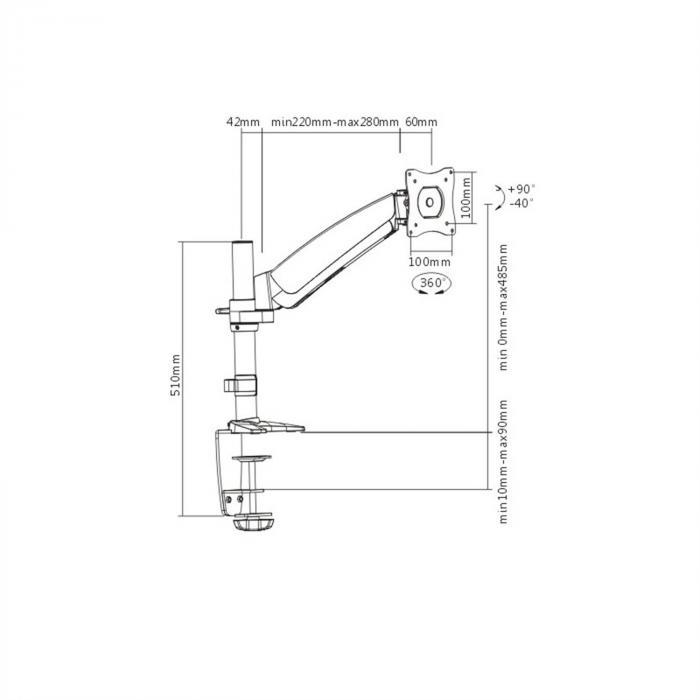 "LDT-04-C011 LCD Desktop Mounting Bracket LED Monitor <9kg <23"""