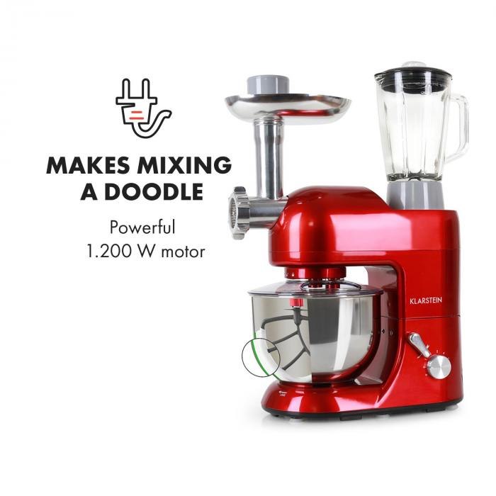 Lucia Rossa Stand Mixer Meat Mincer Mixer 1200w Red Red At The