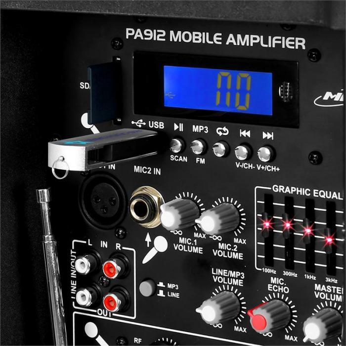 SPJ-PA12 kannettava PA-aktiivikaiutin USB SD akku