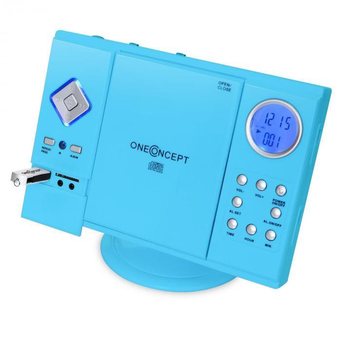V-12 Stereoanlage USB SD CD MP3 AUX UKW Fernbedienung blau