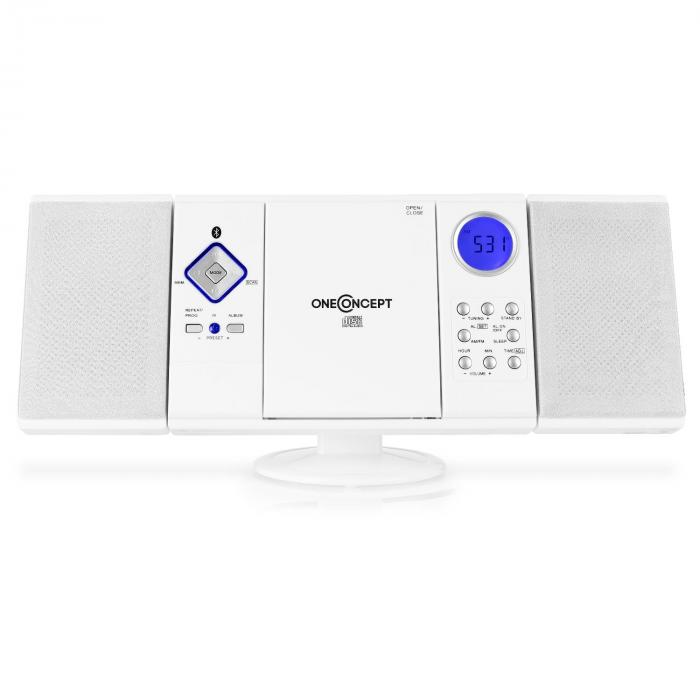 V-12 BT Bluetooth Stereo System FM USB SD AUX White