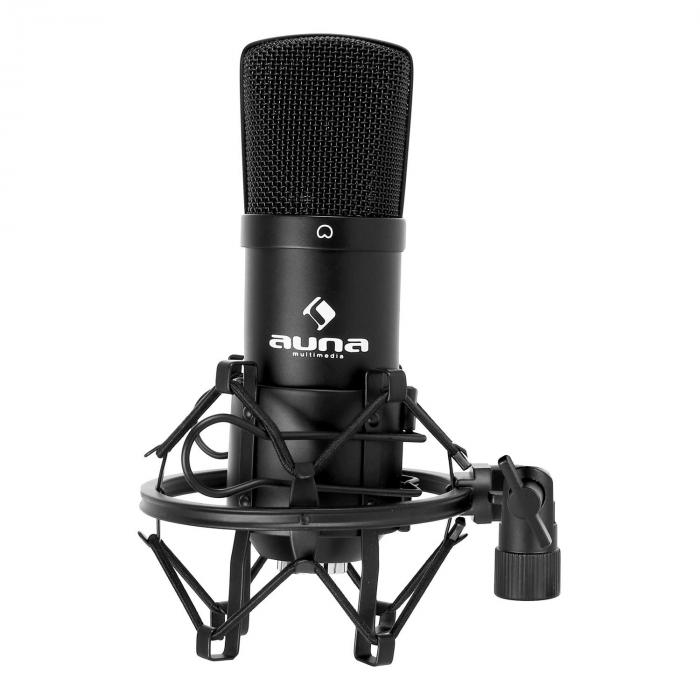 CM001B Microphone Set V1 Condenser Microphone USB Adapter Microphone Stand Black