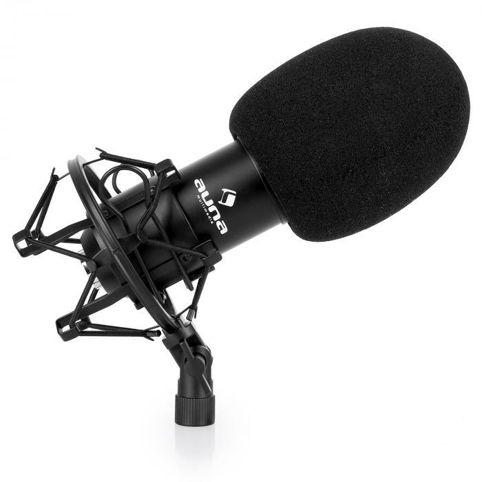 Lava- & studio-mikrofonisetti CM001B mikrofoni, teline ja mikrofonisuoja