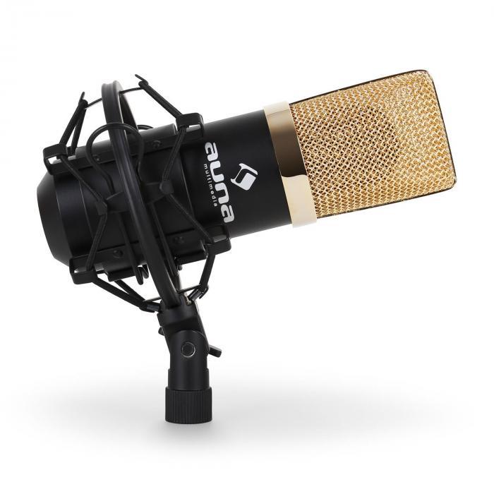 Studiomikrofonisetti USB-mikrofoni kulta/musta & mikrofoniteline