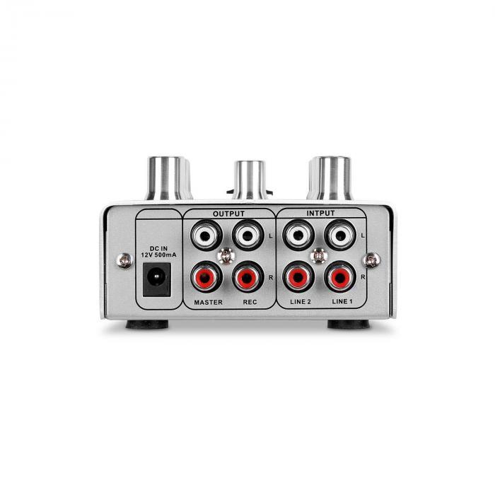 Pikknikk Silver 2-kanavainen DJ-mikseri, hopea