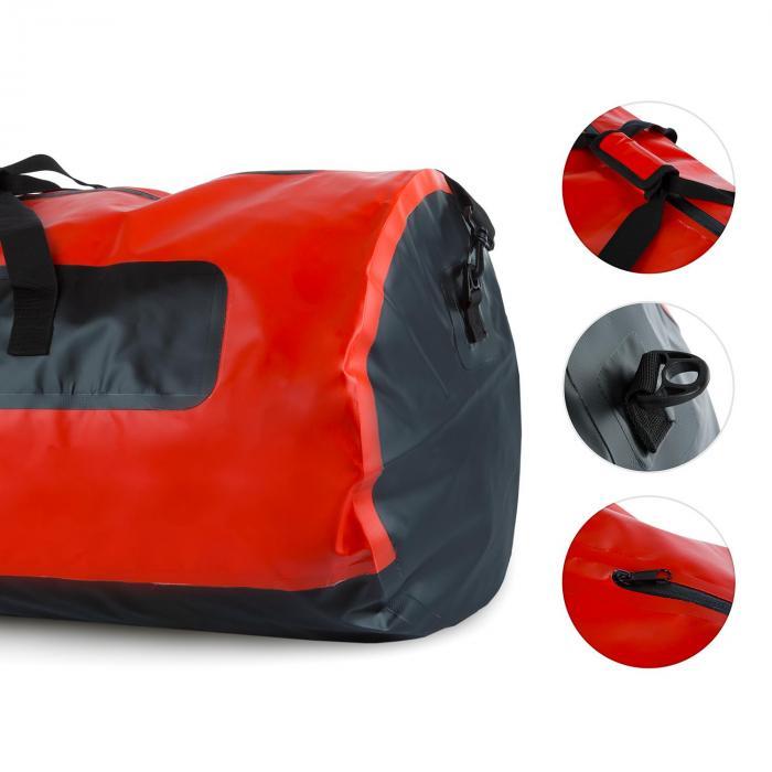 Quintoni 120 merimiessäkki urheilukassi 120 litraa vesitiivis musta/punainen