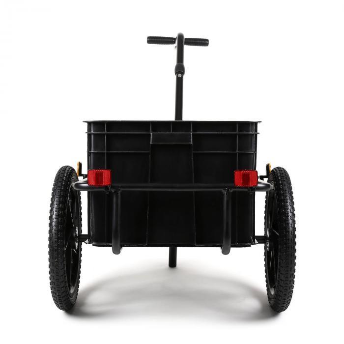 Big Black Mike Fahrradanhänger Lasten Hochdeichsel 70L schwarz