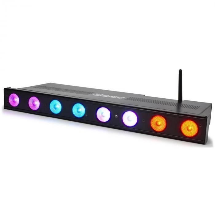 Professional Wi-Bar LED-valoefektilaite 8 x 3W Tri-Color DMX langaton
