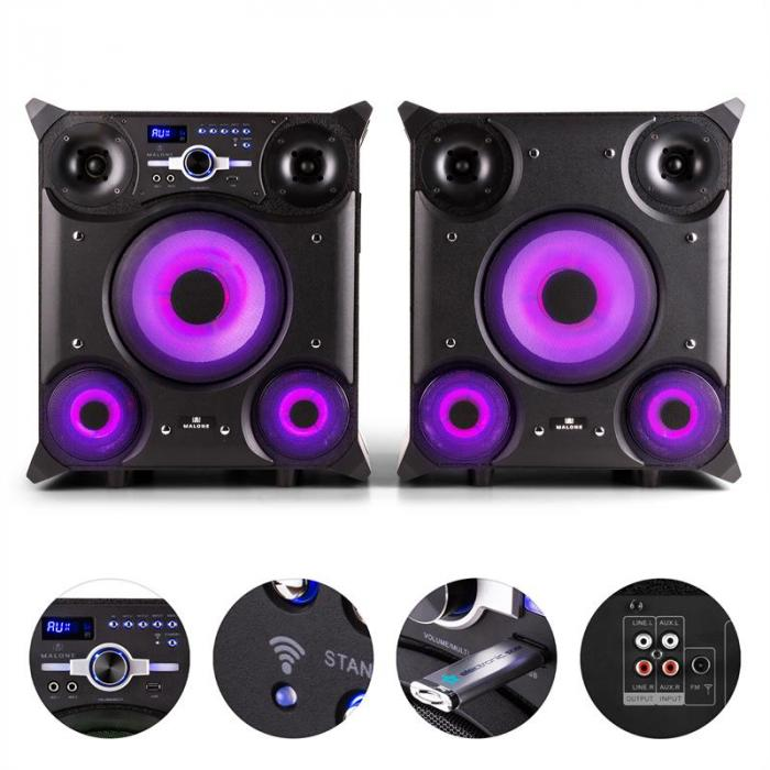 gtx 5 party lautsprecher system 800w bluetooth usb ukw led. Black Bedroom Furniture Sets. Home Design Ideas
