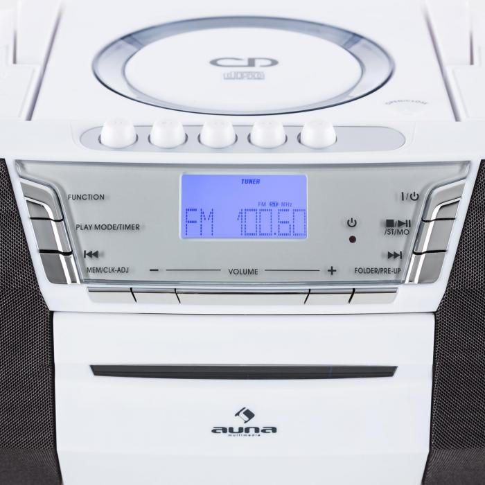 Jetpack Portable Boombox USB CD MP3 FM Battery White