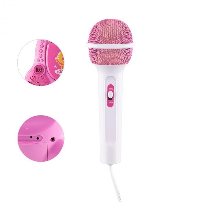 Rockpocket Impianto Karaoke bambini CD AUX 2 Microfoni Adesivi Rosa