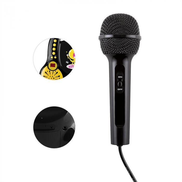 Rockpocket lasten karaokelaite CD AUX 2 x mikrofoni tarrat musta