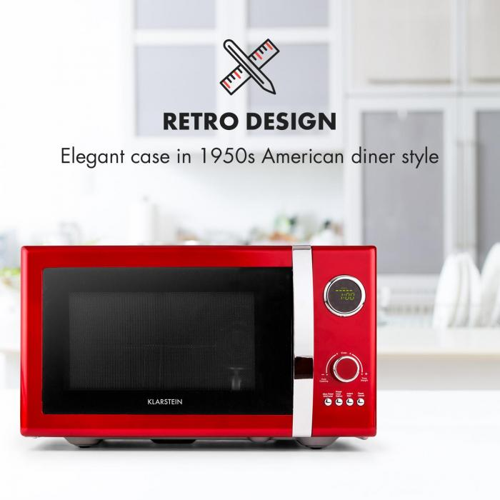 Fine Dinesty 2in1 Microwave Oven Retro 23L 800W 12 Programs Red