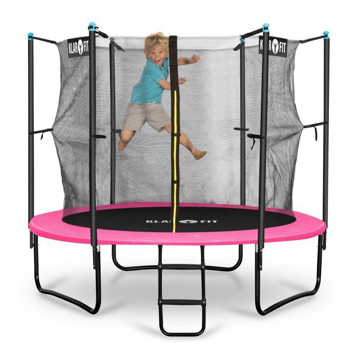 Rocketgirl 250 trampoline 250 cm veiligheidsnet binnen, brede ladder roze