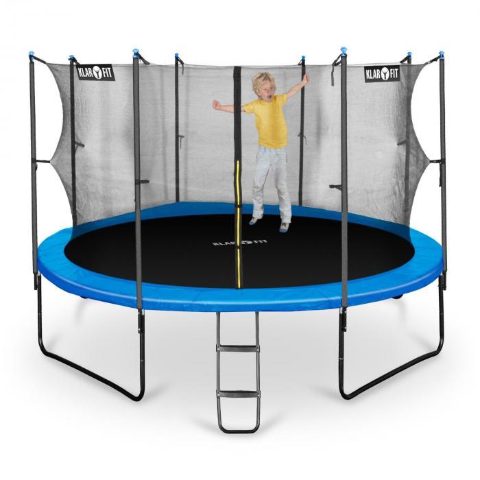 rocketboy 430 trampolin 430cm sicherheitsnetz innen breite leiter blau online kaufen. Black Bedroom Furniture Sets. Home Design Ideas