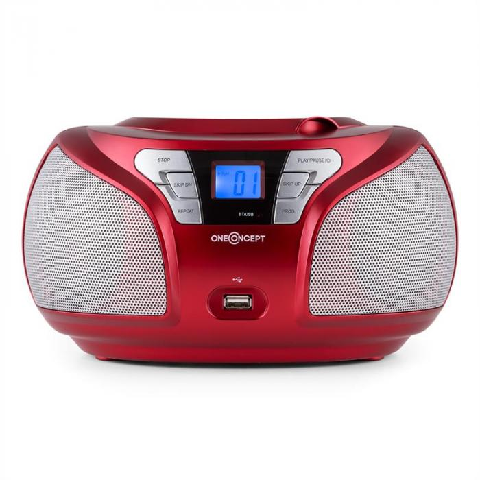 Groovie RD boombox bluetooth CD UKW AUX MP3 punainen