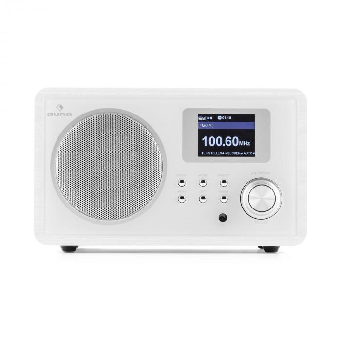 IR-150 Retro Vintage Wooden Internet Radio FM DLNA W-LAN with Remote White