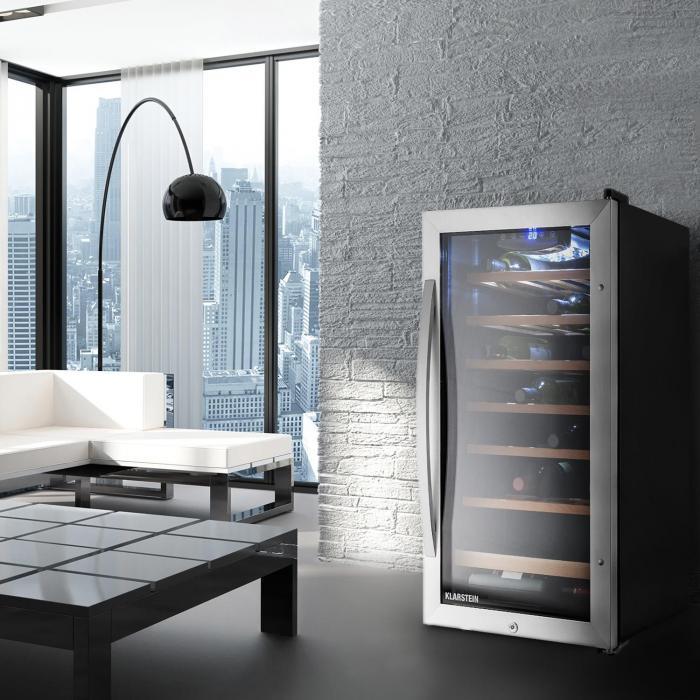 Vivo Vino 26 Wine Refrigerator 26 Bottles 88 Litre Stainless Steel LED Black