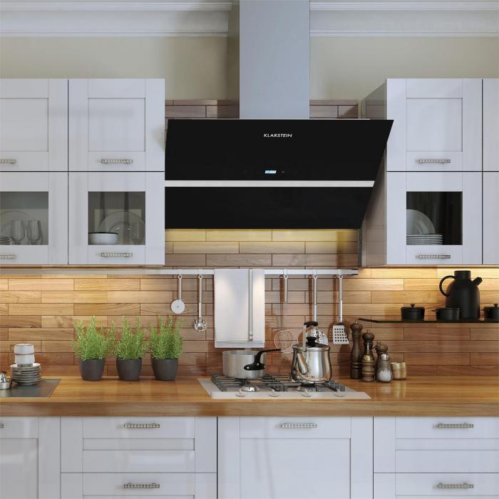 Aurea VII Extractor Cooker Hood 90 cm touch panel black glass