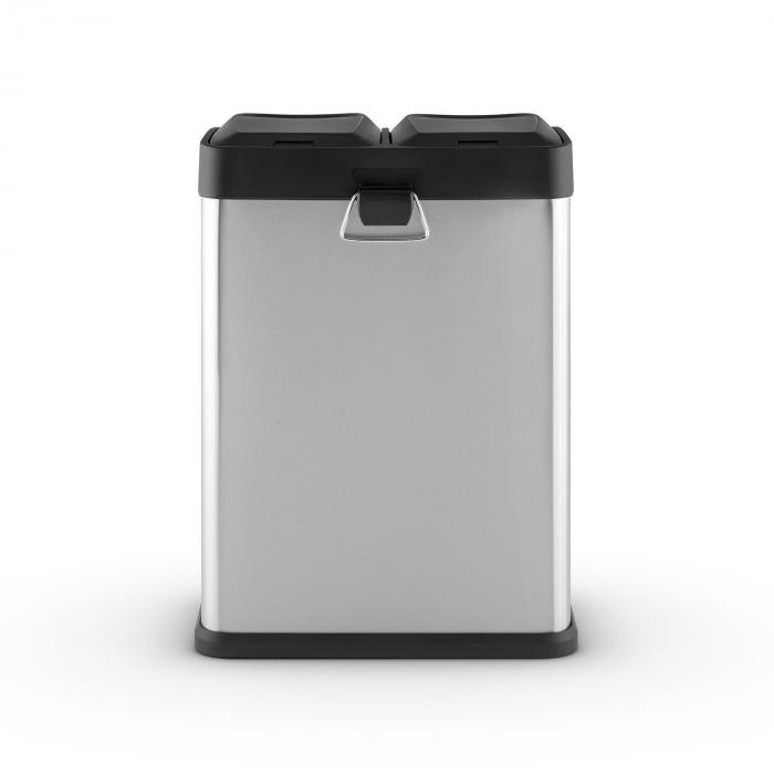 Ecosystem 2 x 18 Stainless Steel Rubbish Recycling Pedal Bin 36L