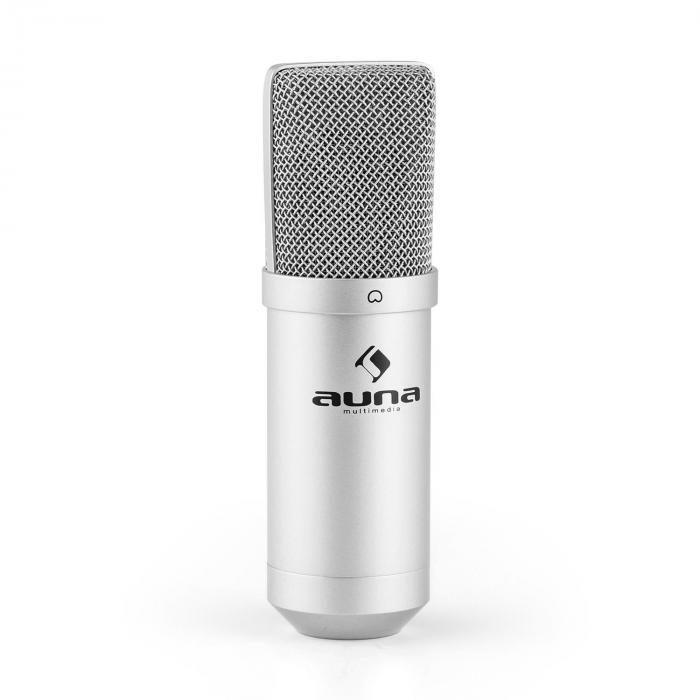 MIC-900S-LED USB kondensaattorimikrofoni hopea herttakuvio studio LED