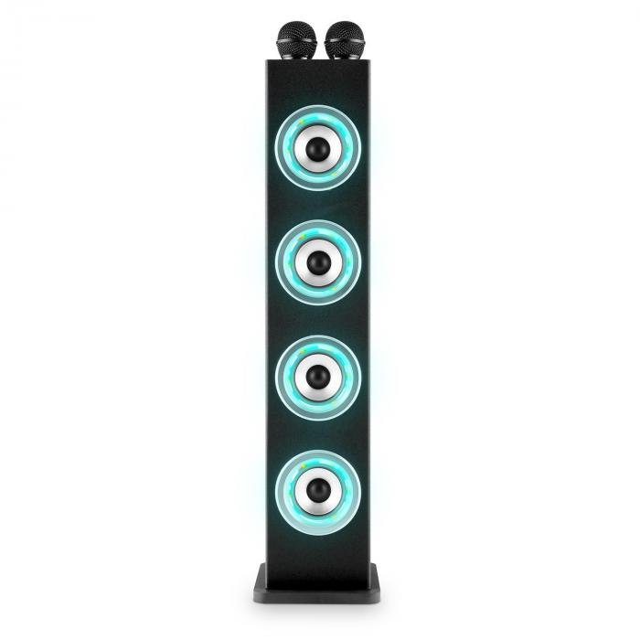 Karaboom Altoparlante Karaoke Bluetooth LED USB AUX 2 x Microfoni