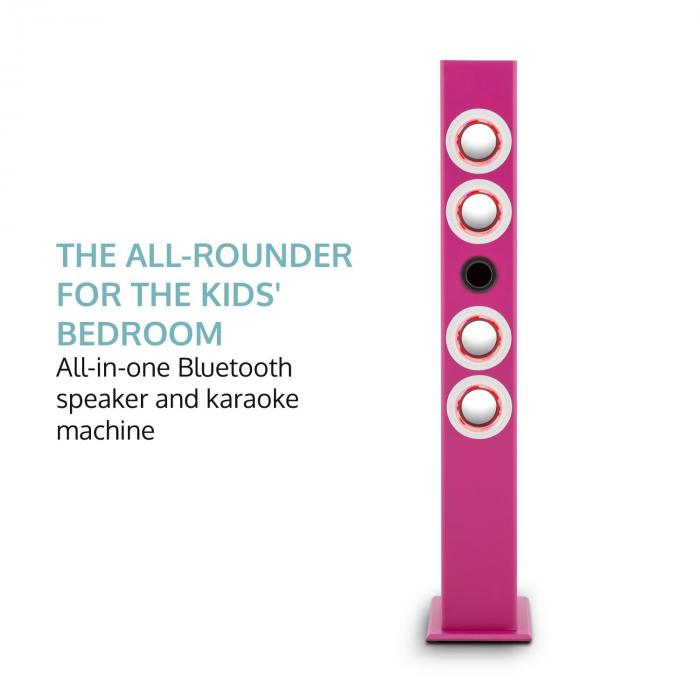 Tallgirl Enceinte tour karaoké BT Batterie USB SD MP3 FM AUX - rose