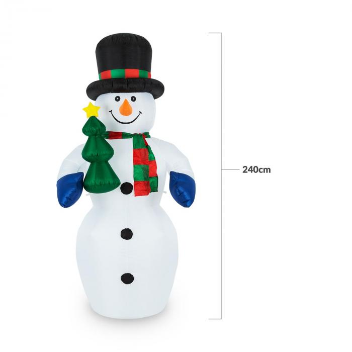 6acbe6e86613b oneConcept Mr. Frost Muñeco de nieve hinchable Decoración navideña 240cm Led
