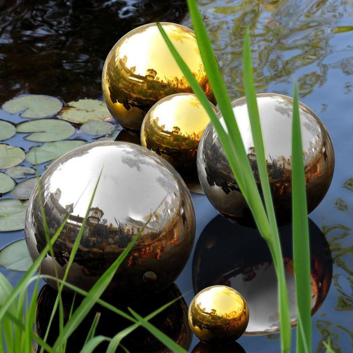 Golden Globes puutarhakoriste ruostumatonta terästä 3 kpl 13/20/28 cm
