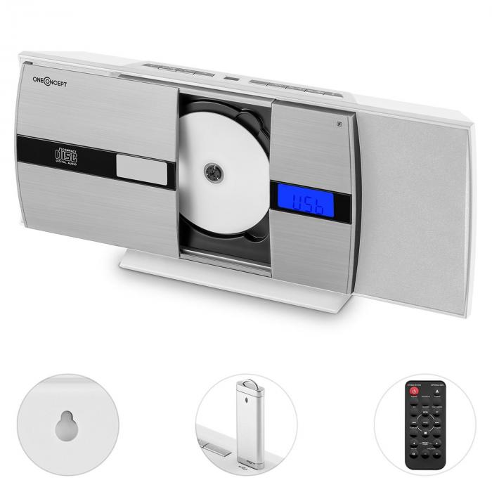 V-15-BT equipo de sonido Bluetooth CD USB MP3 UKW despertador blanco