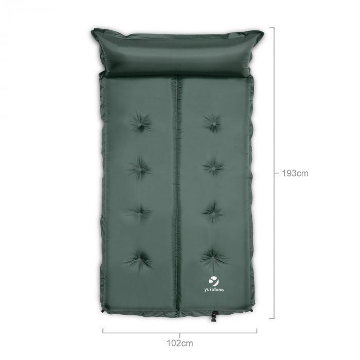 Goodbreak 5 Mata izolacyjna Podwójny materac powietrzny 5cm grubości Poduszka pod głowę zielona