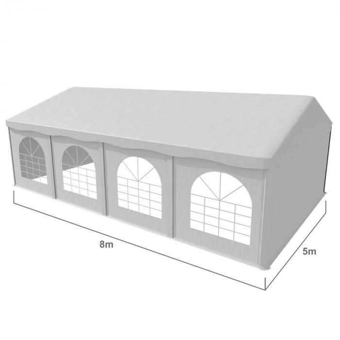 Sommerfest 5x8m 500 g/m² juhlateltta PVC vaikeasti syttyvä valkoinen