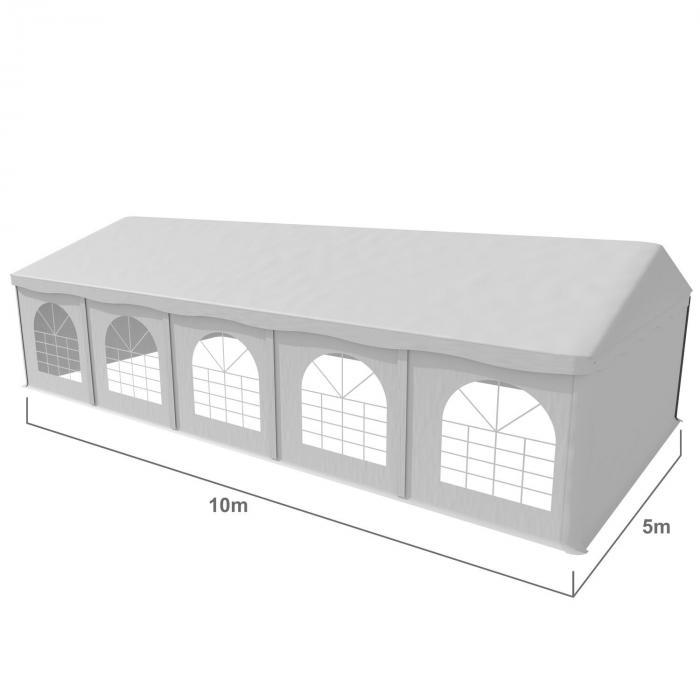 Sommerfest 5x10m500g/m² juhlateltta PVC vesitiivis sinkitty valkoinen