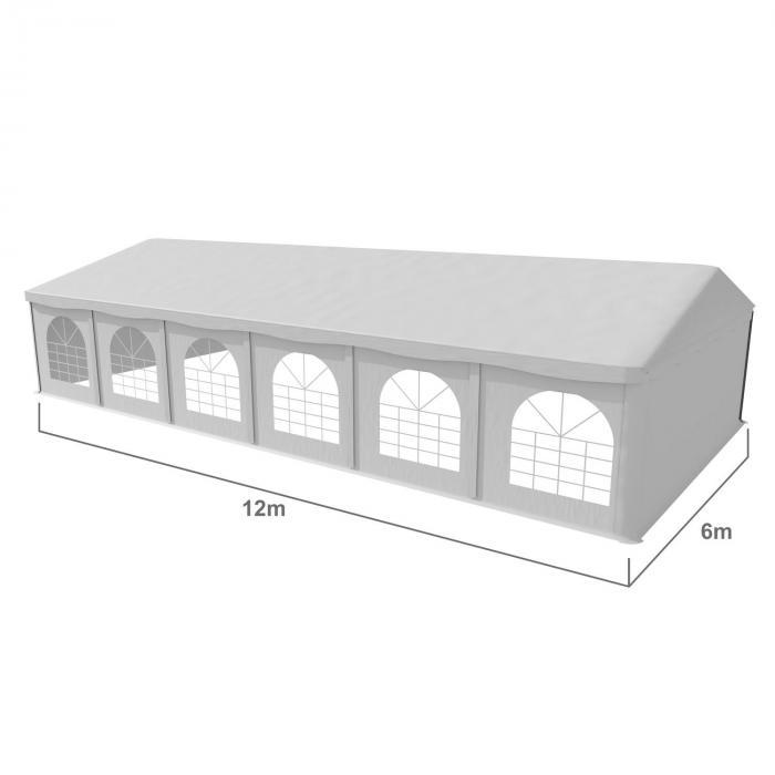 Sommerfest 6x12m500g/m² juhlateltta PVC vesitiivis sinkitty valkoinen