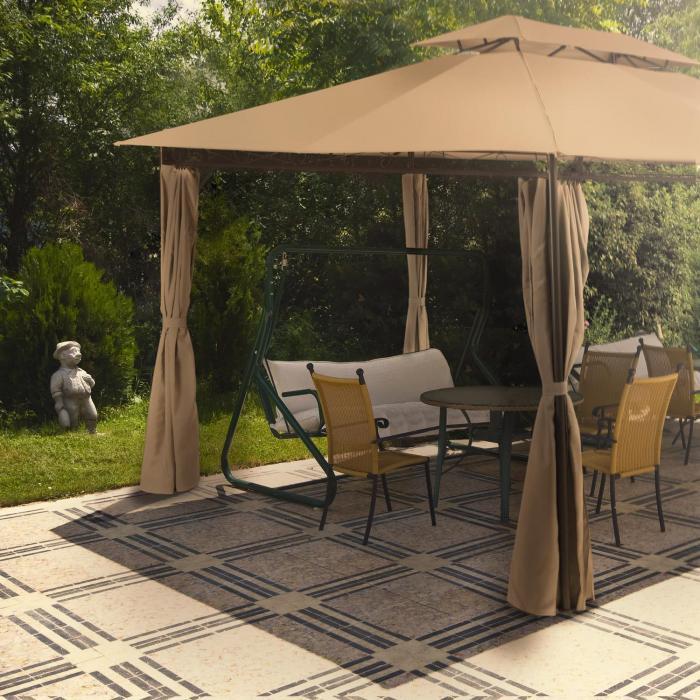 Grandezza Gartenpavillon Partyzelt 3x4m Stahl Polyester braun