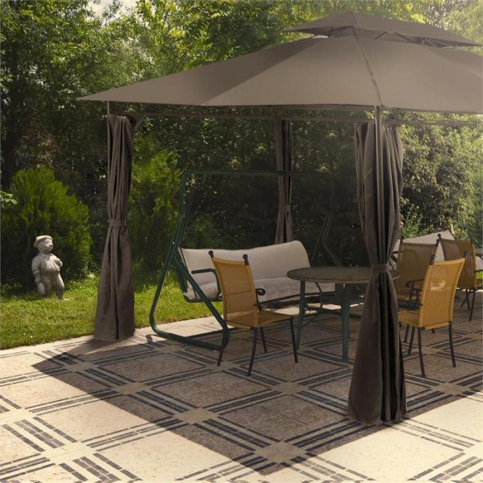 Grandezza puutarhapaviljonki juhlateltta 3x4m terästä polyesteriä tummanharmaa