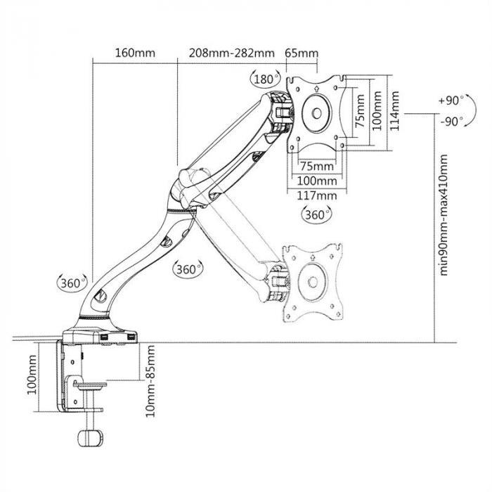 LDT09-C012USB monitorin pöytäteline LED LCD 2 x USB sis. kokoamismateriaalin