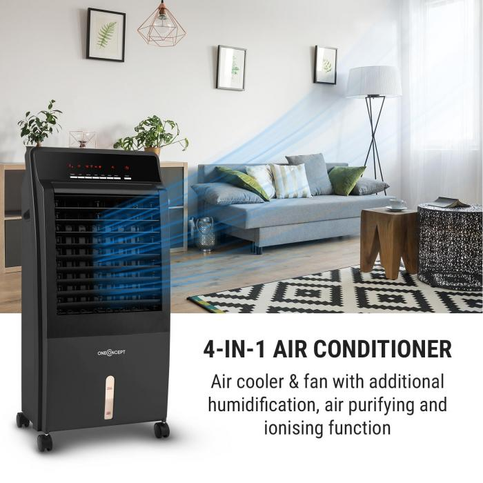 CTR-1 Air Cooler CTR-1 v2 4-in-1 Mobile Air Fan Humidifier Purifier Ioniser 65W Remote Control Black