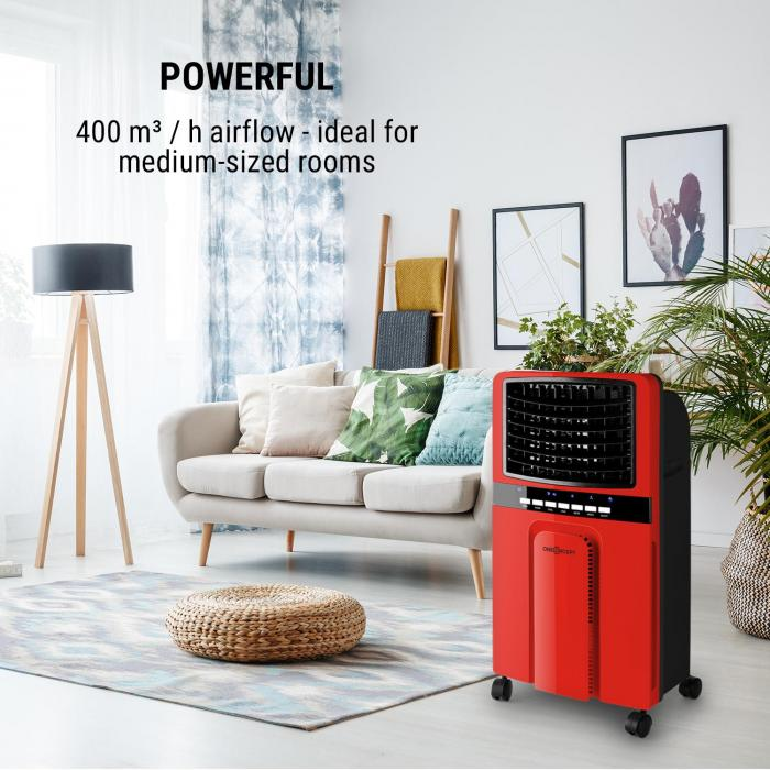 Baltic Red Air Cooler Fan Humidifier Purifier 65W 400 m³/h Remote Control