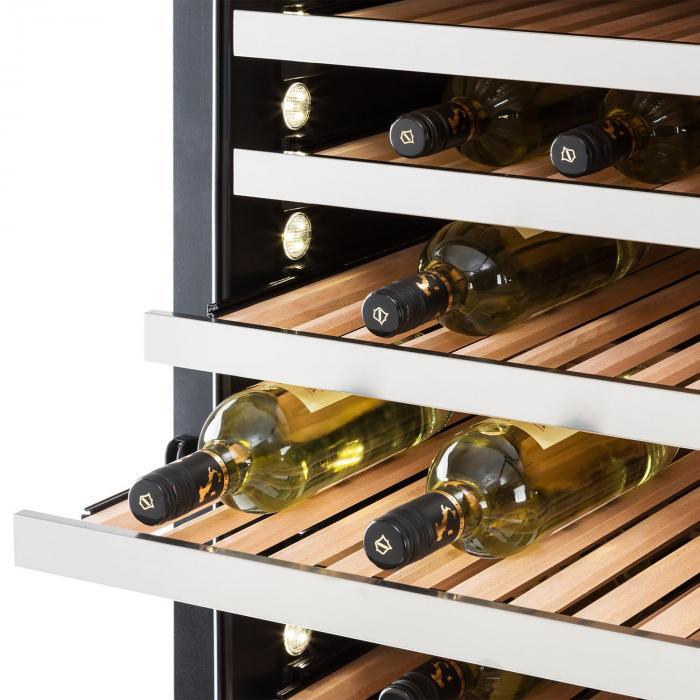 Botella 300S Weinkühlschrank 642 Liter 303 Weinflaschen Edelstahl LED