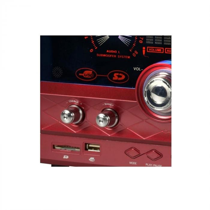 AHB-2290K 2.1 Audiosystem USB SD AUX MIC inkl. Mikrofon rot