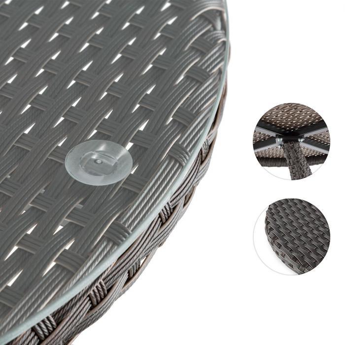 Tabula Tavolino 50cm Vetro Polyrattan Alluminio Bicolore Marrone