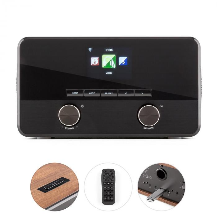 Connect 100 internetradio mediasoitin bluetooth WLAN USB AUX line out