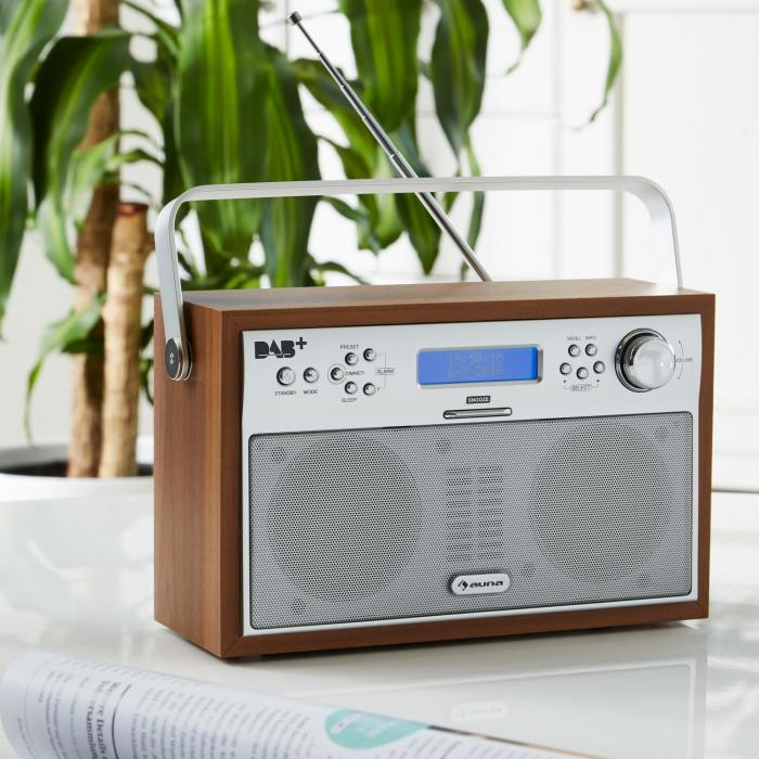 Akkord Digital Radio Portable DAB+/PLL-FM Radio Alarm LCD walnut