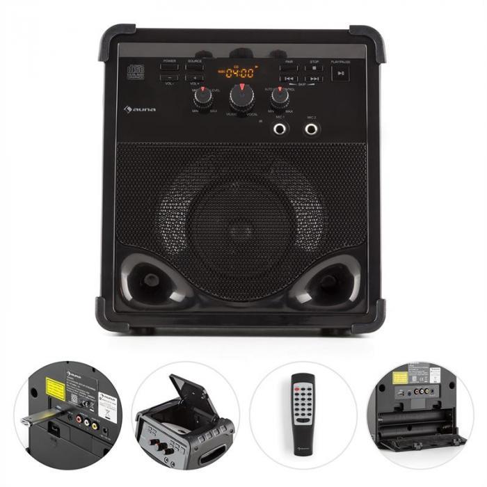 RockStage Karaoke-Anlage Bluetooth CD+G USB MP3 Batteriebetrieb 2 x Mikro