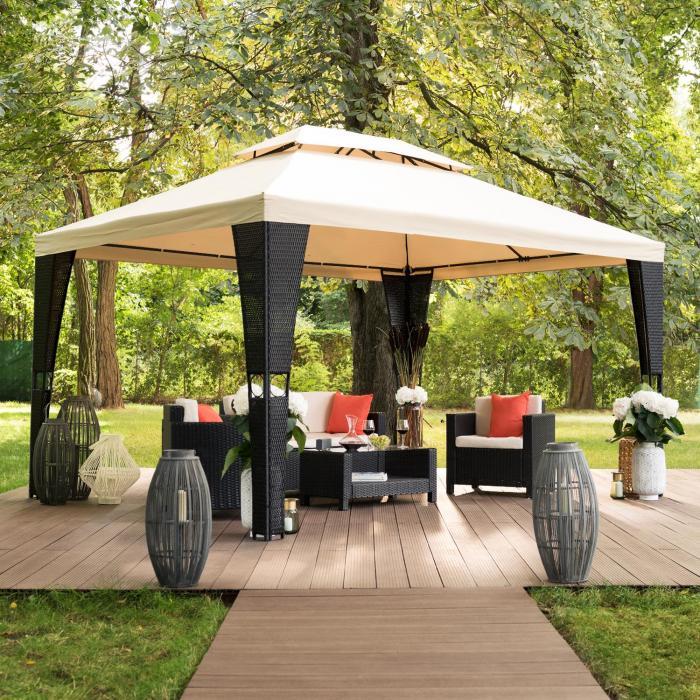 Avignon puutarhapaviljonki 3 x 4 m polyrottinkia polyesteria sis. kiinnitysköydet